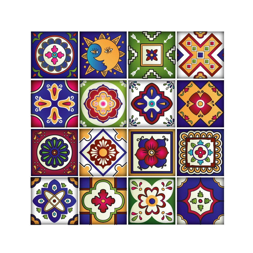 Mexican Tiles Stickers Set Of 16 Tiles Tile Decals Art For Walls Kitchen Backsplash Bathroom Tile Decals Mexican Tile Tile Art