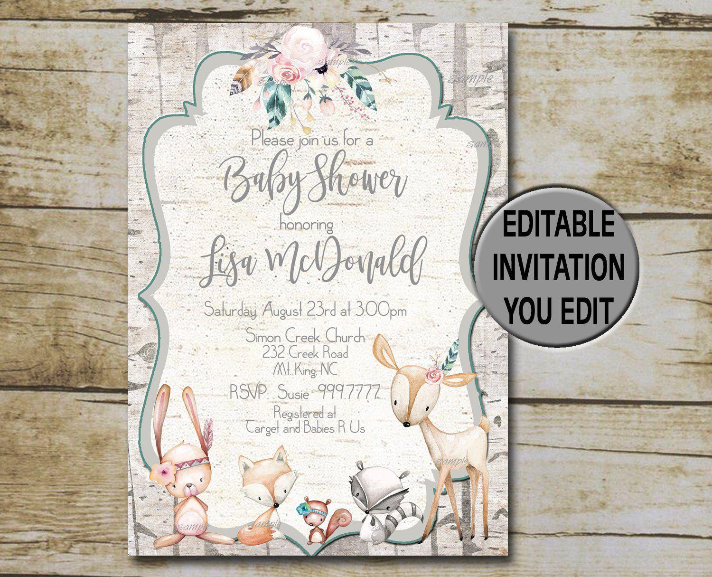 Boho woodland baby shower invitation template vintage