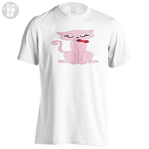 New Cat Pink Cute Funny Smile Men's T-Shirt Tee h777m - Funny shirts (*Amazon Partner-Link)