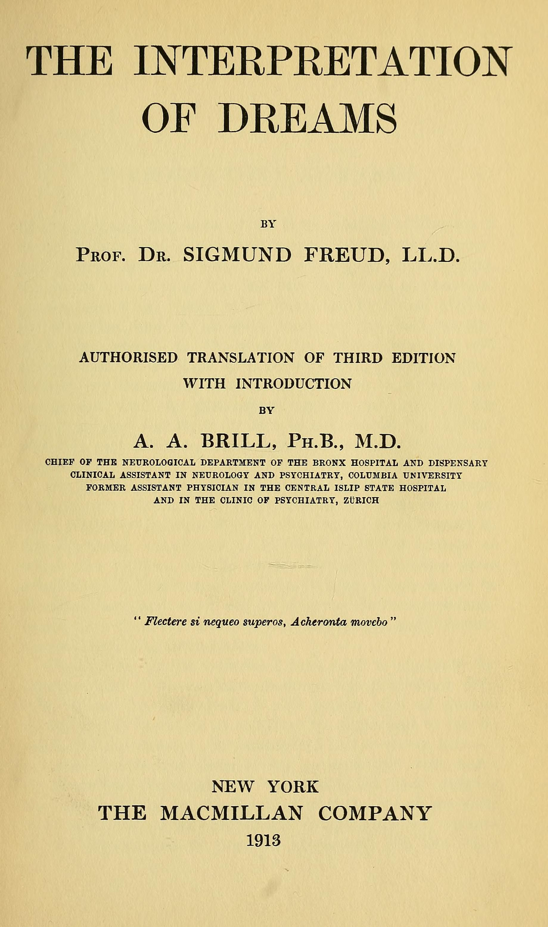 Sigmund Freud Libros The Interpretation Of Dreams By Sigmund Freud Psychology Latin