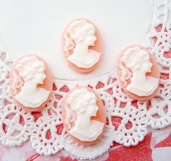 Vintage Chic Pink White Lade Cameo Cabochons by alyssabethsvintage, $2.99
