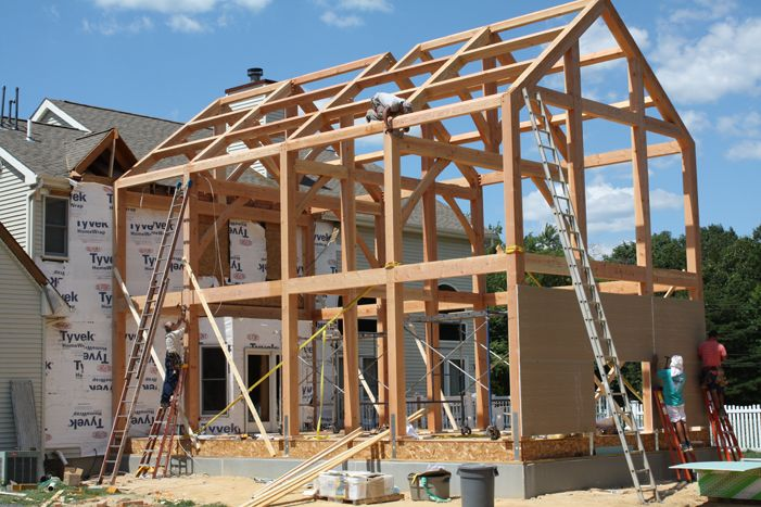 Great Room Addition Plans Timber Frame Addition Added To Conventional Home In New Jersey Room Addition Plans Home Additions Timber Frame