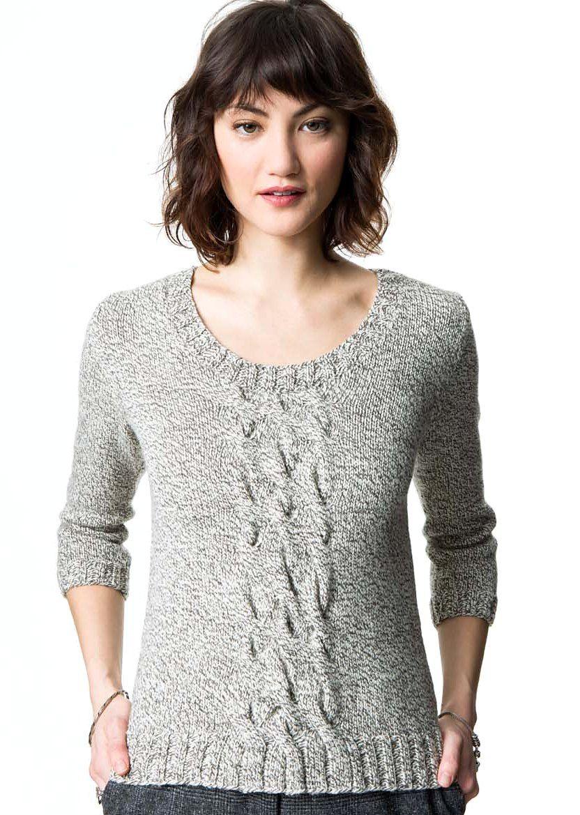 Пуловер с косами по центру Cable Front | Pinterest | Tejido