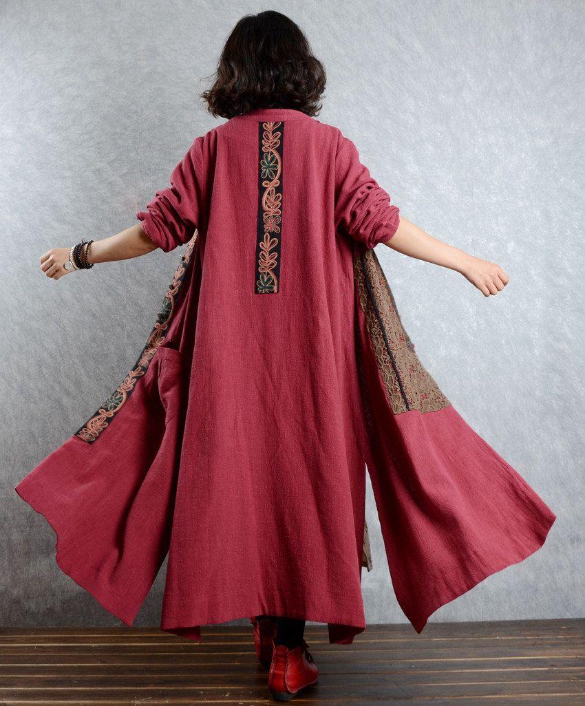 Linen dress cotton dress linen coat hooded long sleeve maxi dresses