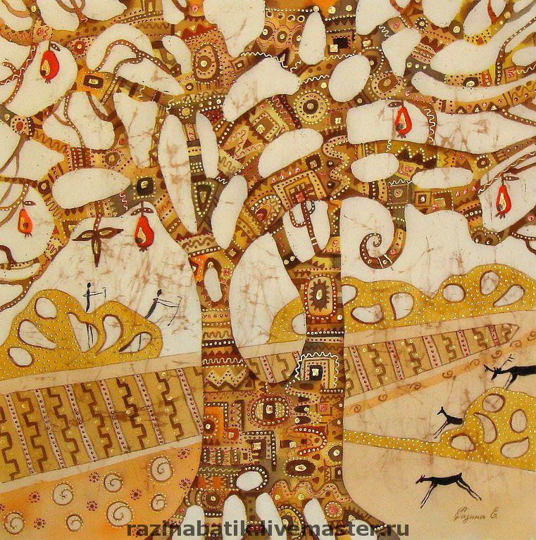 Купить Древо жизни(батик панно) - дерево жизни, деревья ...