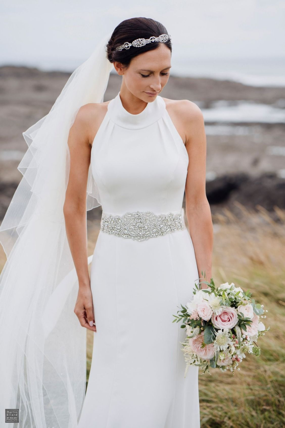Trending David us Bridal bride Claire in WHITE by Vera Wang High Neck Halter Wedding Dress Martin