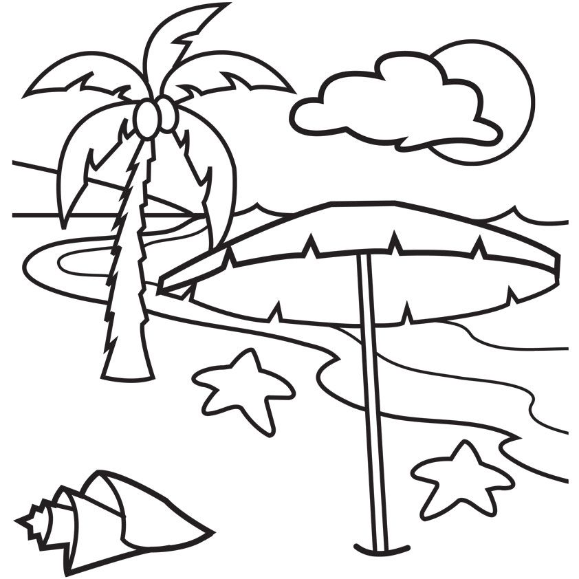 Beach Scene Images Cliparts Co Beach Coloring Pages Tree