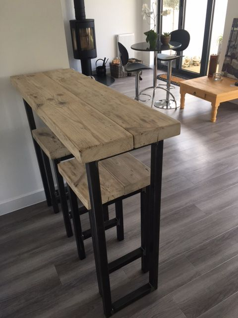 Small Table And Stools: Reclaimed Wood Breakfast Bar And Two Stools