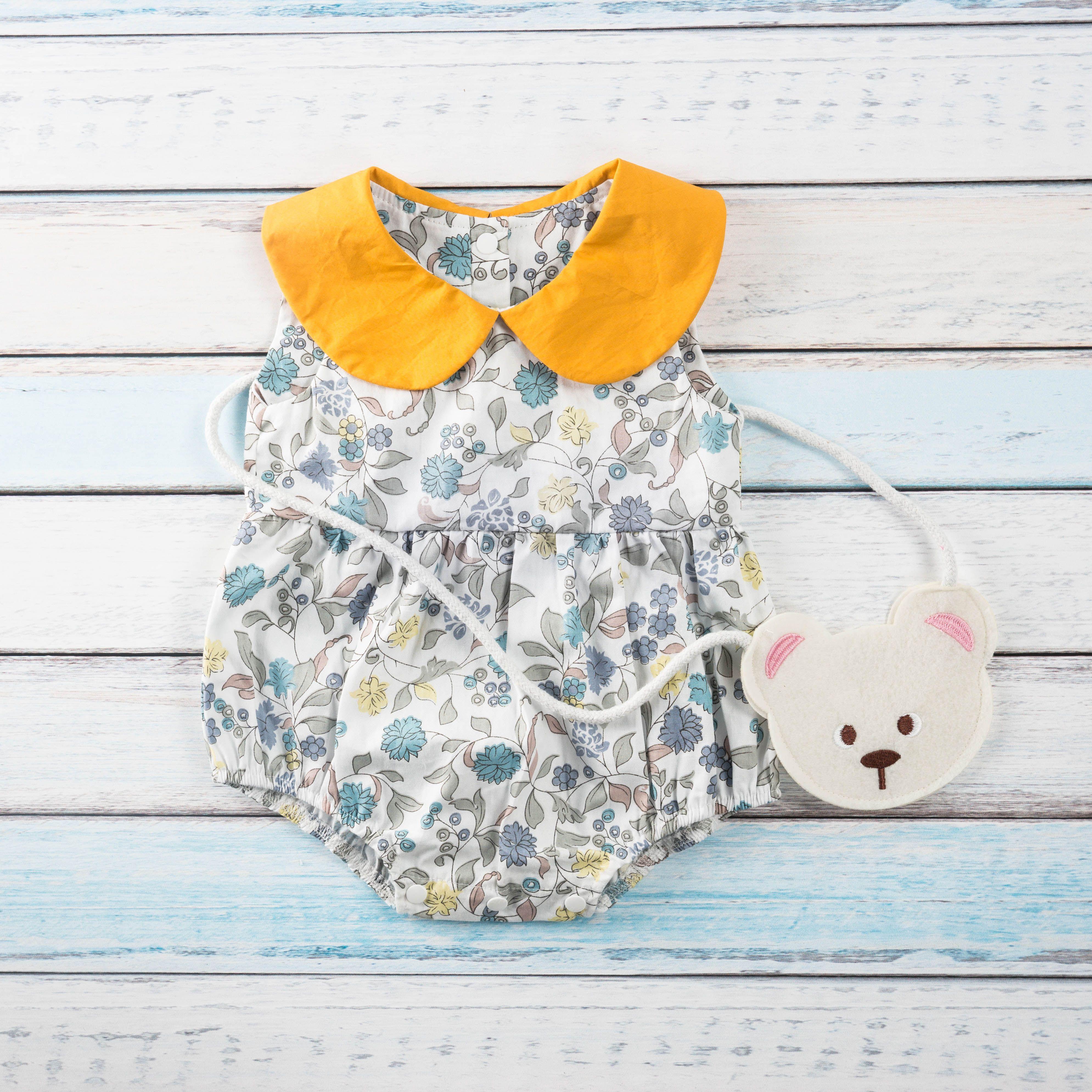 Pretty Doll Collar Floral Sleeveless Bodysuit for Baby Girl