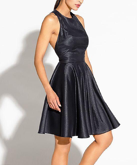 Black Sleeveless Back Cutout Fit & Flare Dress - Women