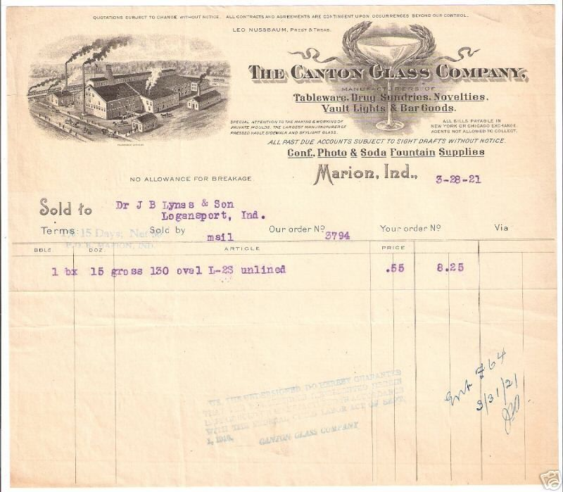 invoice 1920s marion indiana makers of canton domestic jar