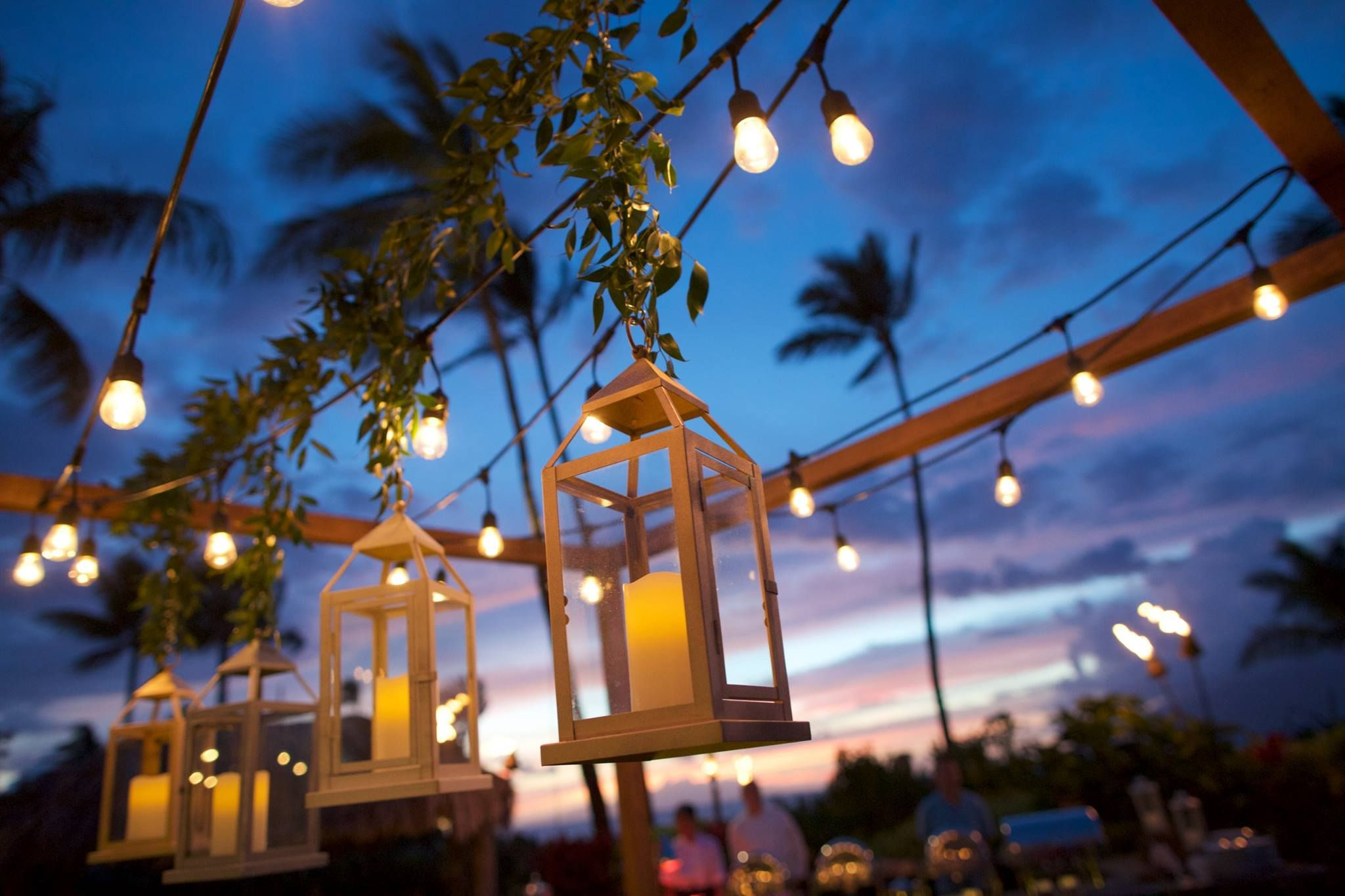 Outdoor wedding under palm trees at four seasons maui hanging outdoor wedding under palm trees at four seasons maui hanging lanterns and lights anna aloadofball Gallery