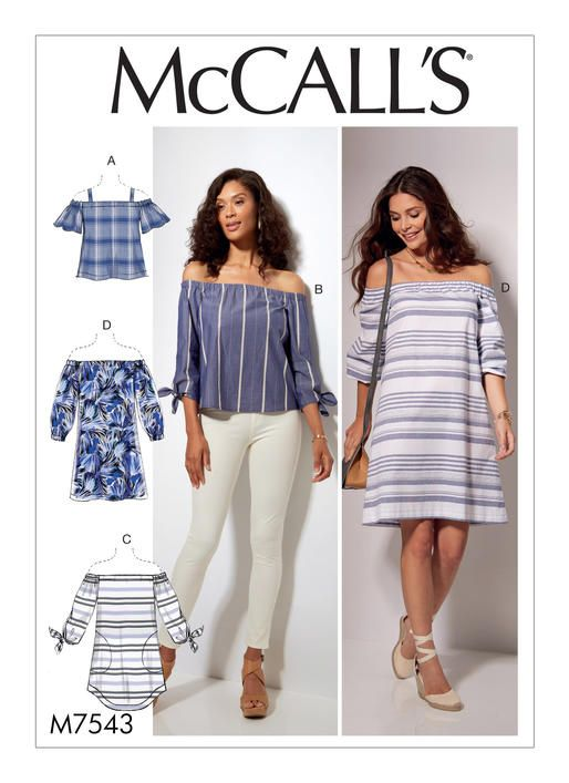 4e91c5ae5d7 McCall's off-the-shoulder tops and dresses sewing pattern. M7543 Misses' Off -the-Shoulder Tops, Tunic and Dress