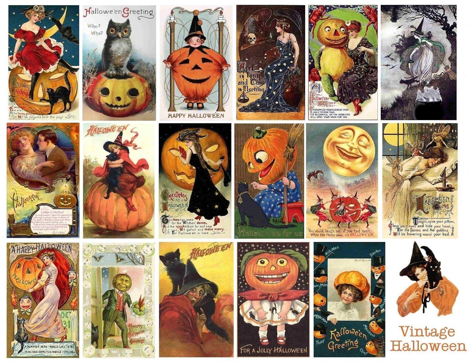 Sympletymes Cloth Art By Sherrie Nordgren Free Vintage Printable Halloween Collage Vintage Halloween Printables Vintage Halloween Cards Halloween Prints
