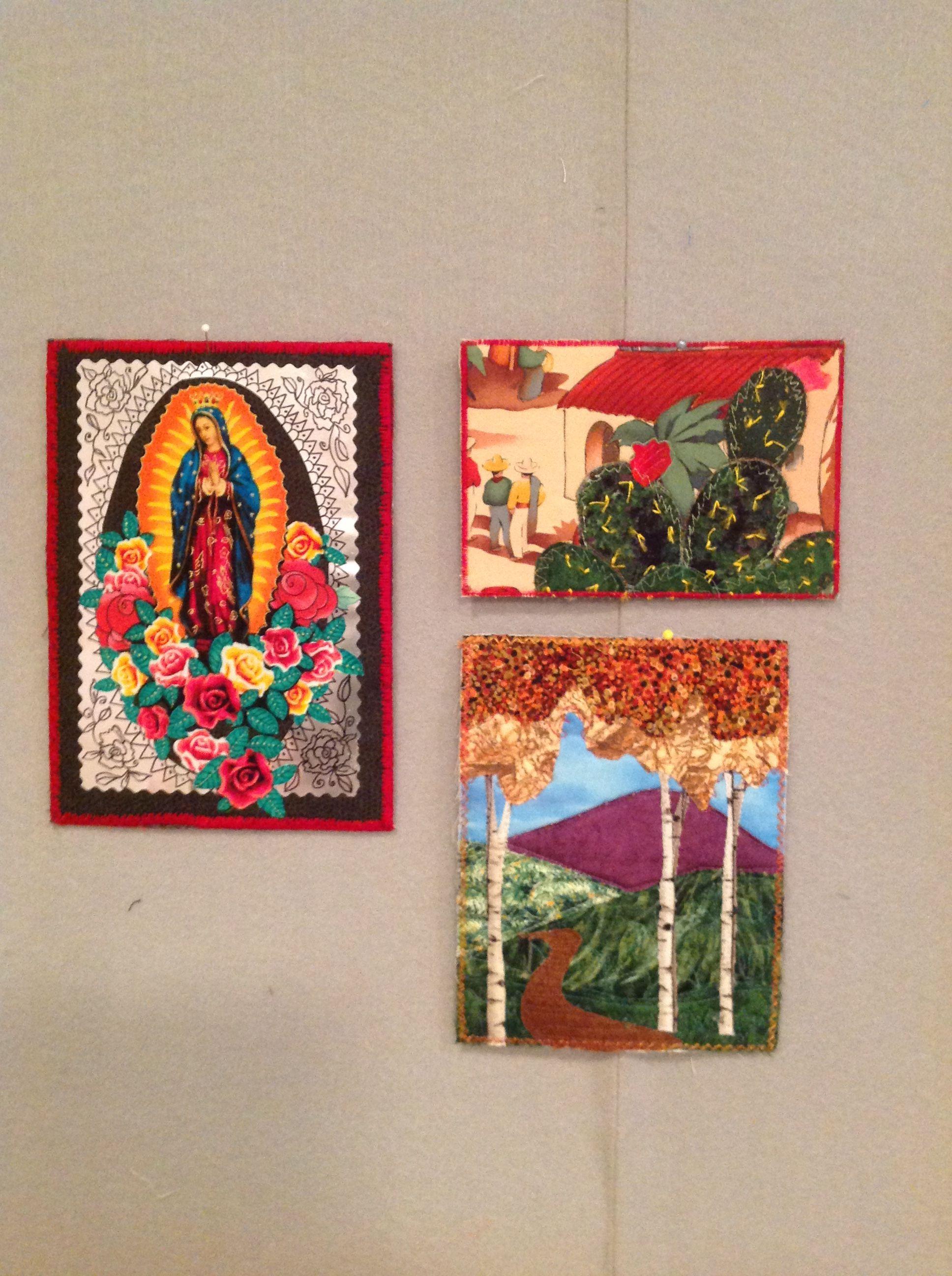 Fabric postcards by Lois Moran
