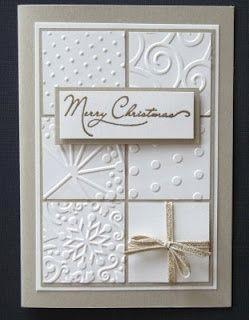 Simple elegant homemade christmas cards embossed squares for Elegant christmas card ideas