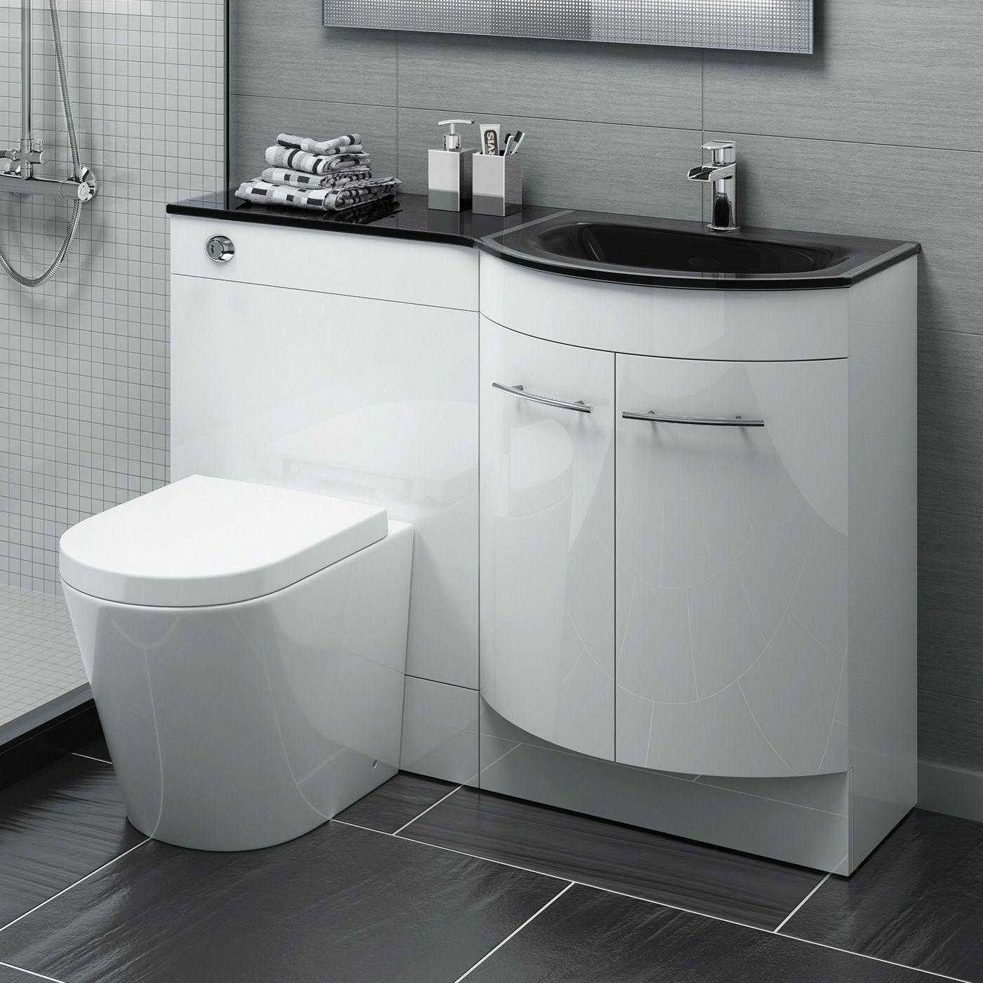 1200mm Alexis Gloss White Combined Vanity Unit Black Glass Basin Lyon Pan In 2019 Bathroom Vanity Units Fitted Bathroom Furniture Fitted Bathroom