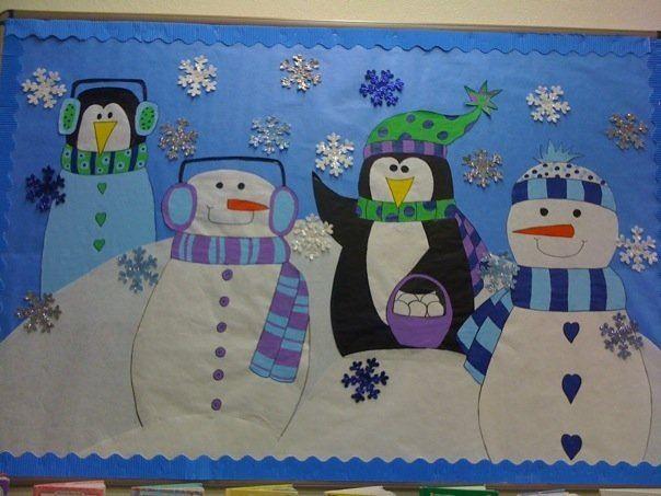 Bulletin board ideas for winter penguins winter bulletin for Decoration porte pingouin