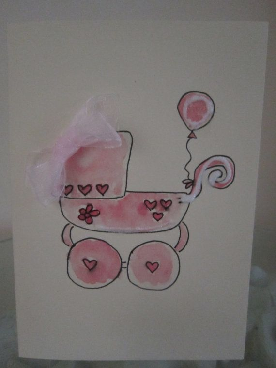 Baby Girl card, watercolour card, baby card, new baby girl, birth