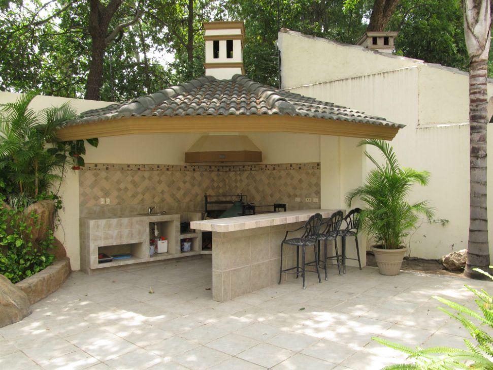 Palapa con asador equipado en patio for the home for Jardines rusticos campestres
