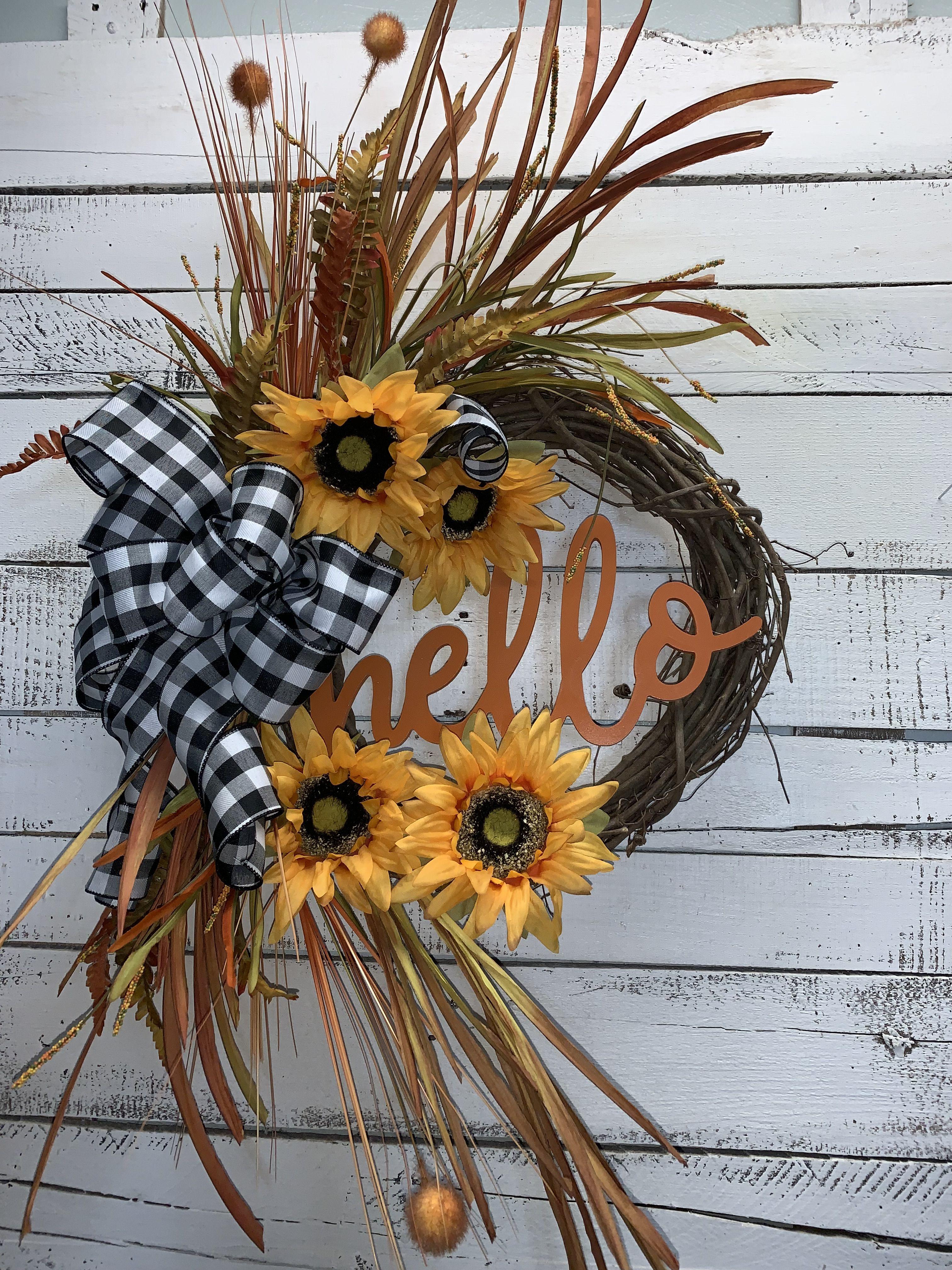 Fall Wreath Fall Door Wreath Fall Wreath For Front Door Hello