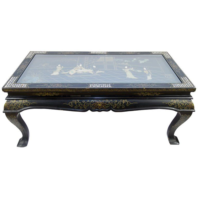 Vintage Chinese Black Lacquer Folding Coffee Table Folding