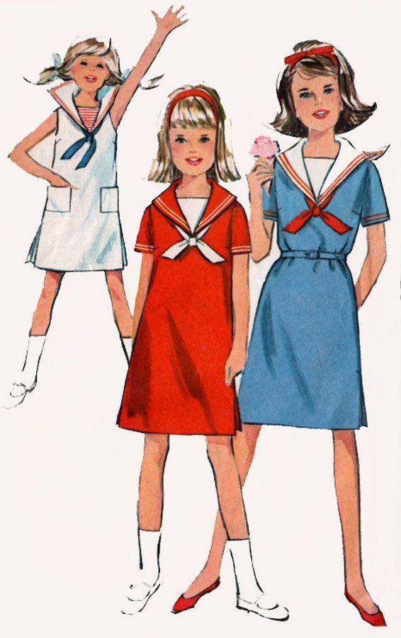 1960s Girls Sailor Collar Shift Dress Simplicity 5856 Vintage 60s ...