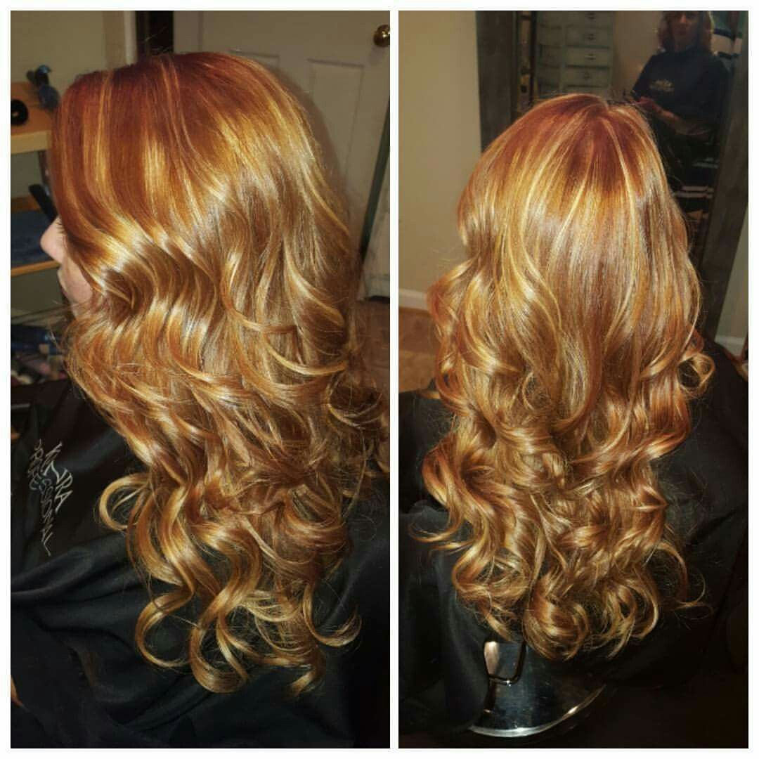 My red hair with blonde highlights by tirrani butlerblevins just