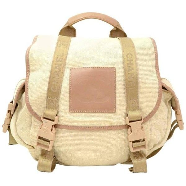 4ad024139 Preowned Chanel Sports Line Beige Canvas Backpack Bag ($799) ❤ liked on  Polyvore featuring bags, backpacks, brown, polka dot canvas backpack, chanel,  ...