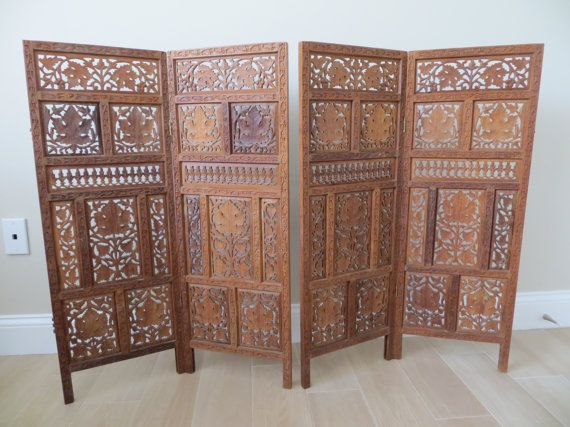 Vintage Mid Century Indian Wood Screen Divider Folding