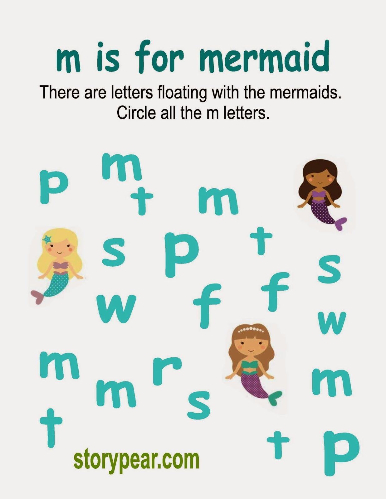 Story Pear Mermaid Circle The Letter M Activity Sheet Letter M Activities Language Activities Preschool Preschool Activity Sheets [ 1600 x 1237 Pixel ]