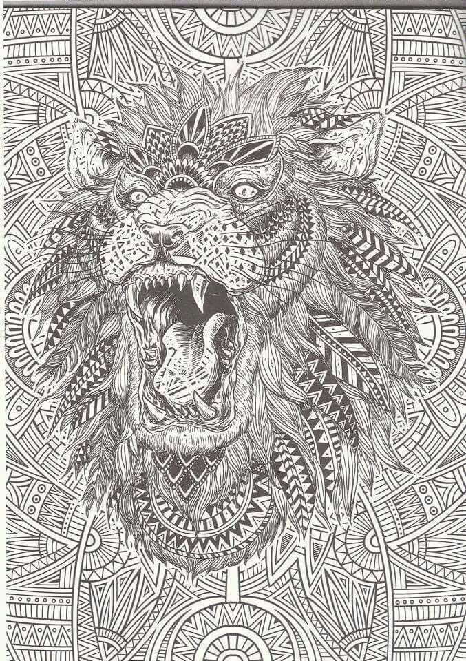 I Love How This Image Not Only Has An Amazingly Detailed Lion It Also A Very Unique Background More Cool Stuff At Bestadultcoloringbooks
