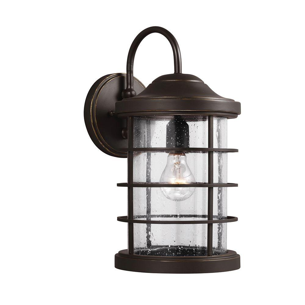 Sauganash light antique bronze outdoor wall lantern with clear