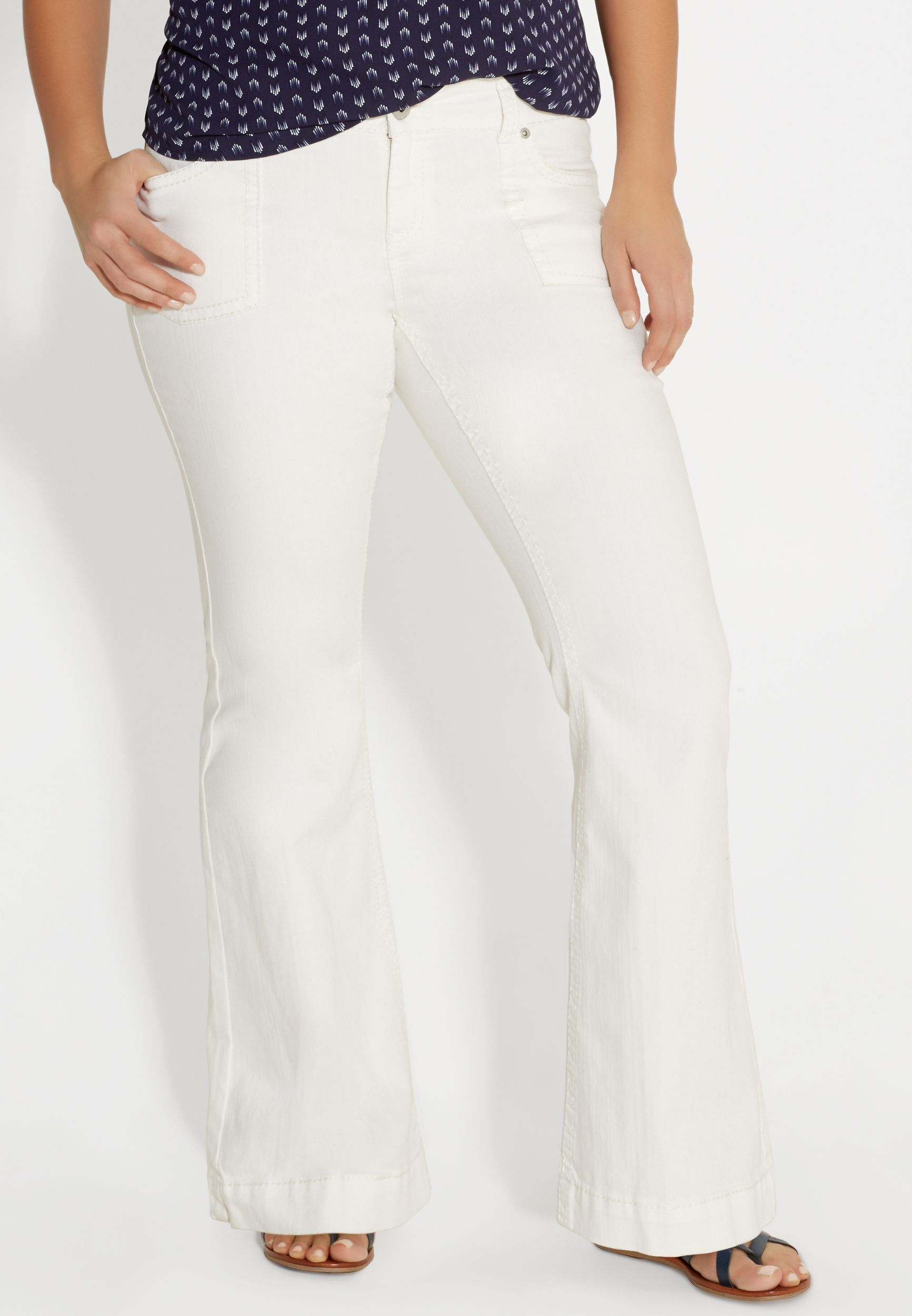 8603c7307ca DenimFlex™ plus size white flare jeans with porkchop pockets (original  price