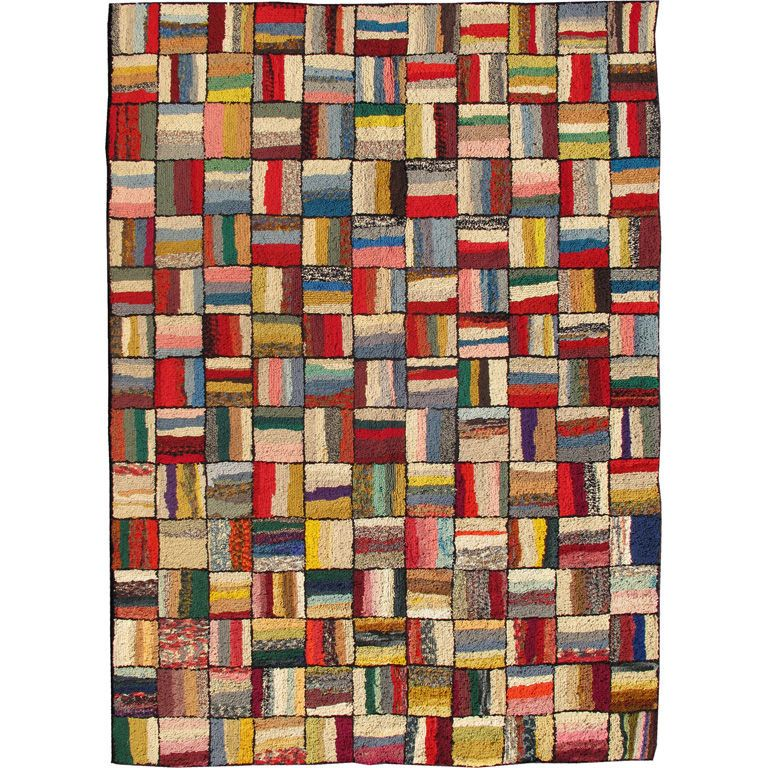 For Sale on - This spectacular vintage American hook rug visually vibrates  with a stunning myriad of colors and striped, checker-patterned weaves.