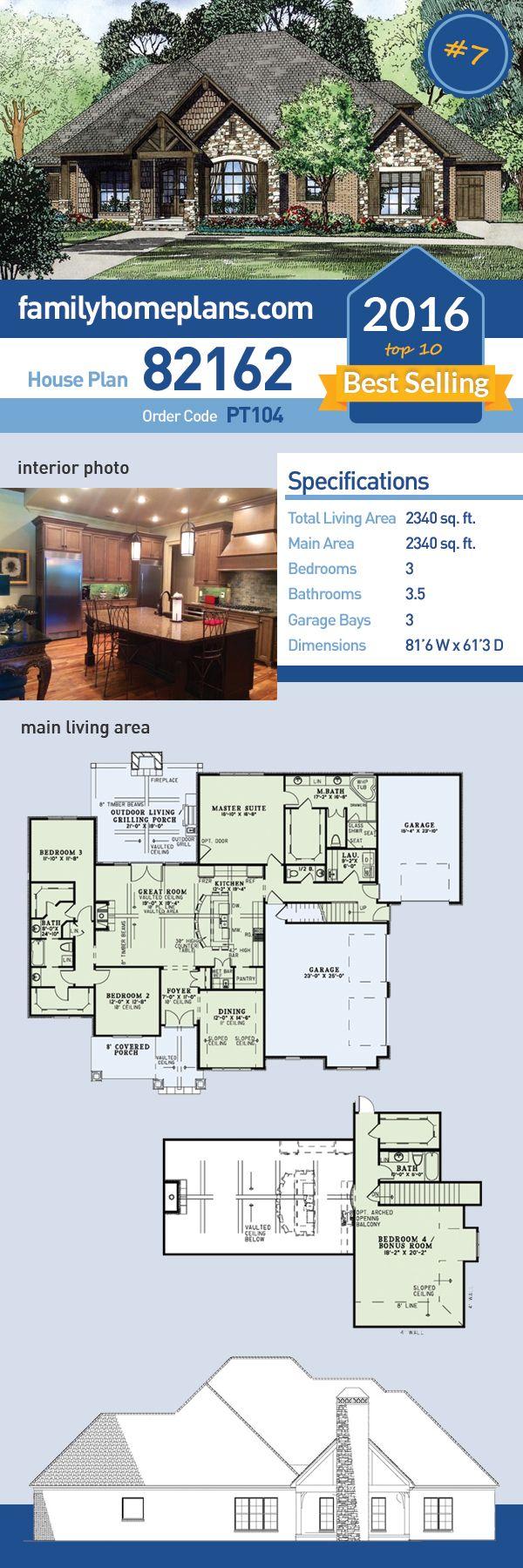 Craftsman european house plan 82162 craftsman house for Best selling floor plans
