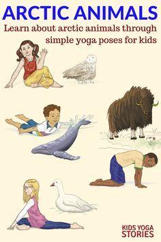 11 arctic animals yoga poses for kids printable poster