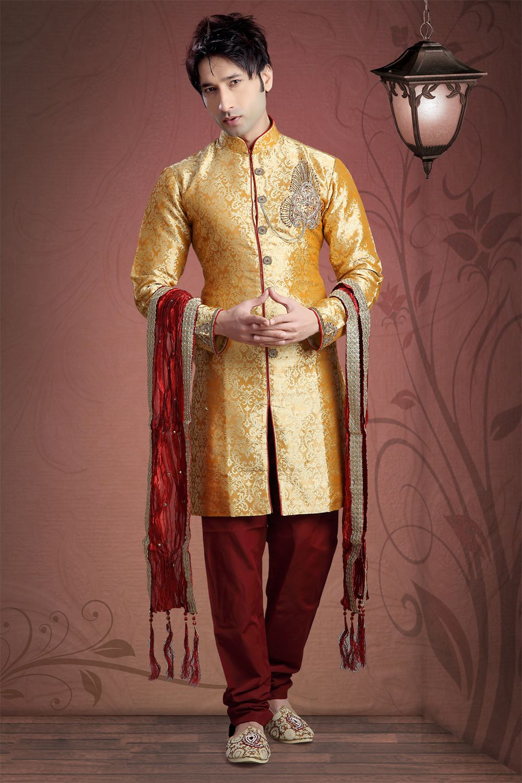 f7a6dd277eb Make a style statement with this Mustard Banarasi Silk Designer Kurta  Pajama!!  kurtapajama  kurta  kurtas  kurtapajma  mensfashion  mens  fashion   wedding ...