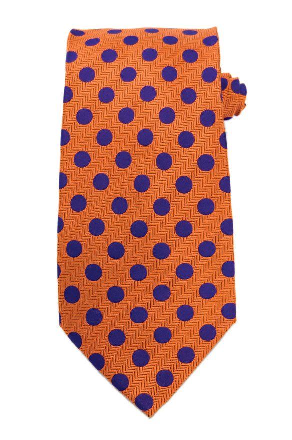 Orange w/ Purple Polka Dot Neck Tie