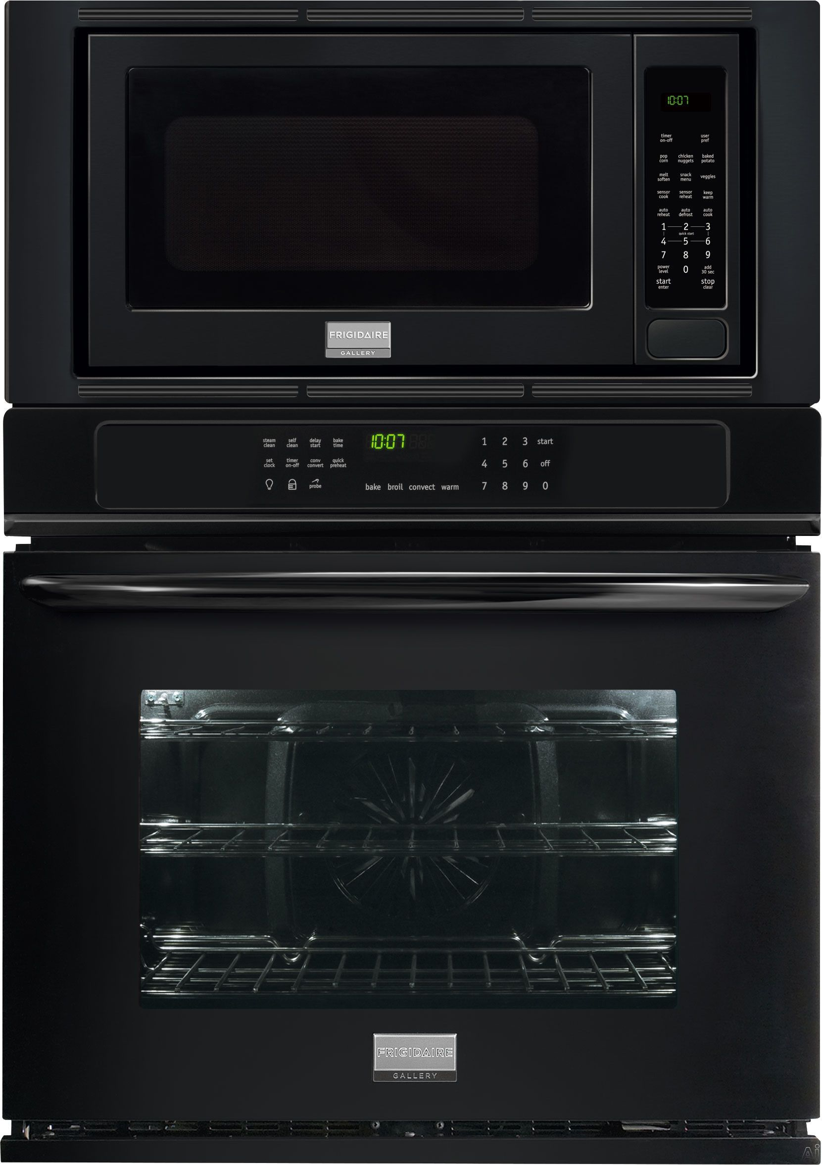 Frigidaire Fgmc2765pb 27 Combination Wall Oven With 3 8 Cu Ft True Convection Oven Convection Wall Oven Electric Convection Oven Microwave Combination Oven