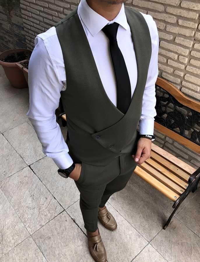 4ed43b3d60ff2 İtalyan stil çapraz yelekli likralı erkek takım elbise T1737 | Waist ...