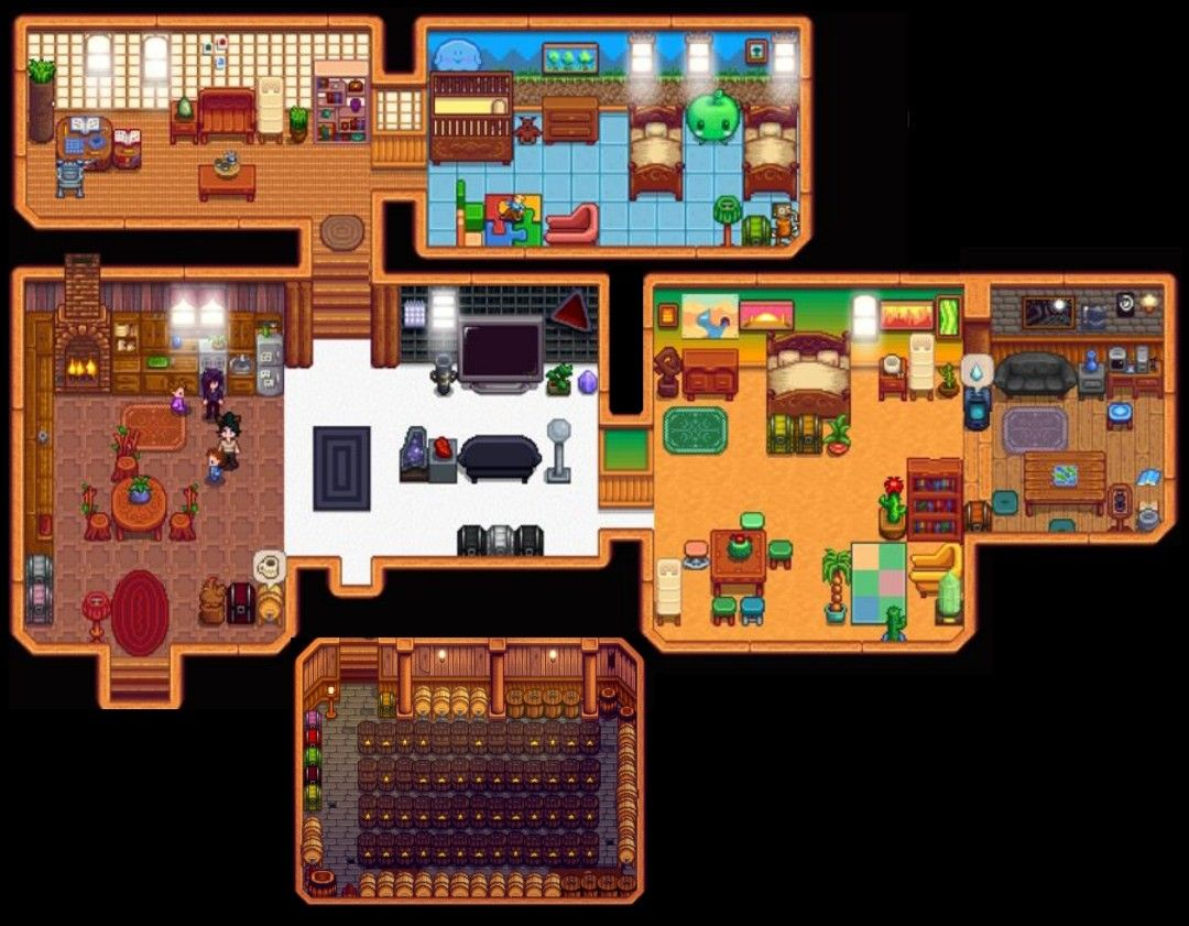 Full Farm House Interior With Cellar Stardew Valley House