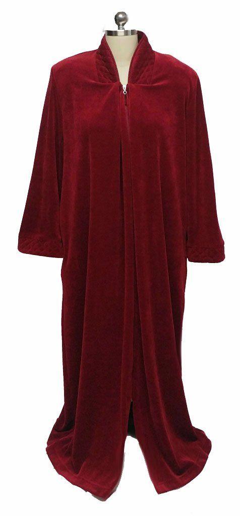 New Diamond Tea Luxurious Zip Up Front Cotton Velour Robe In