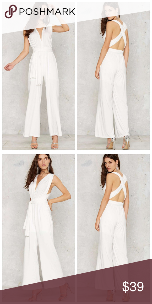e4662418c474 Nasty Gal All Time Low Halter Jumpsuit - White Not all lows are a bad  thing... This white jumpsuit features a plunging neckline