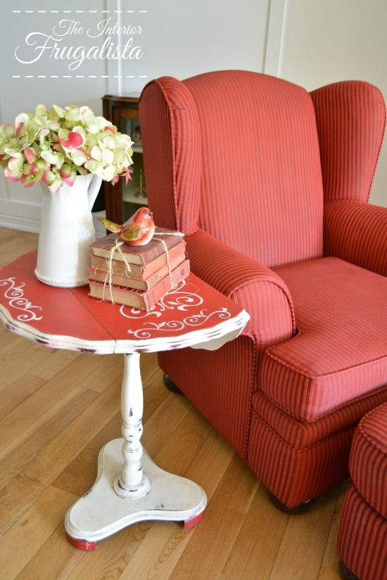 From Burgundy To Light Red Chalk Painted Wing Chair | The Interior  Frugalista