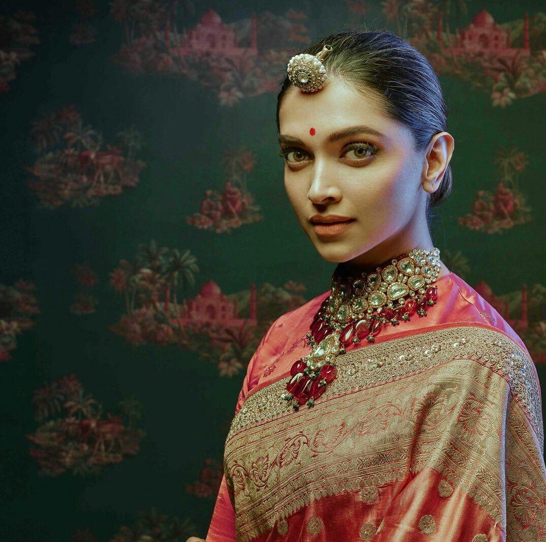Bollywood actress Deepika padukone in Sabyasachi saree ...