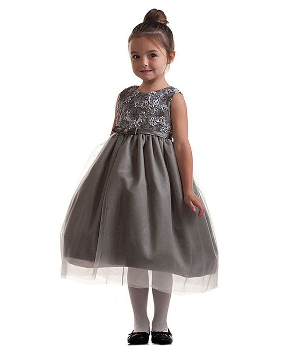 8c14047a2676 Look at this Crayon Kids Silver Floral A-Line Dress - Toddler ...
