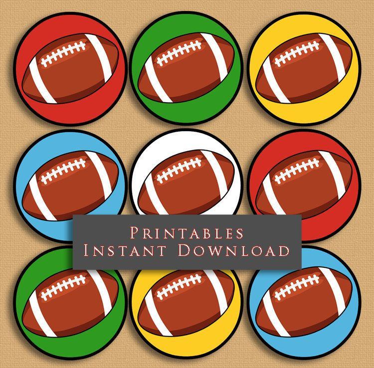 "2.5"" Football Printable Cupcake Toppers Sports Theme Birthday Party DIY Printable INSTANT DOWNLOAD by JannaSalakDesigns on Etsy"