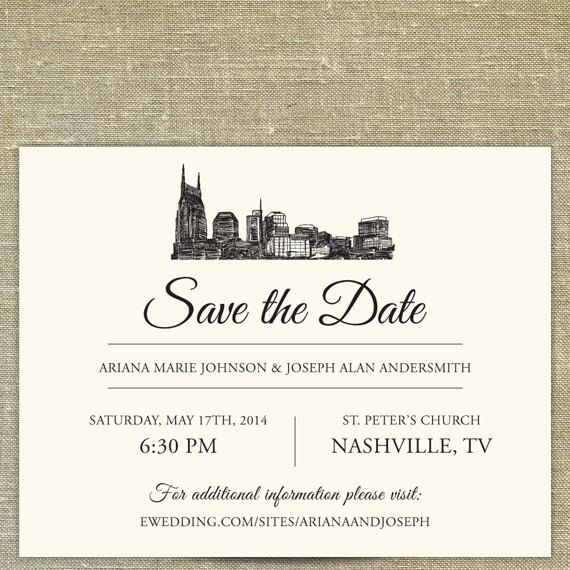 Nashville Skyline Save the Date; Tennessee city skyline; Nashville