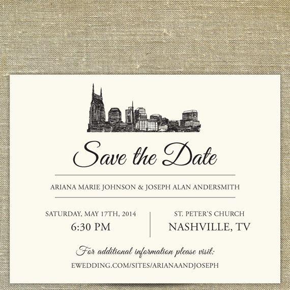 Nashville Skyline Save the Date; Tennessee city skyline; Nashville ...